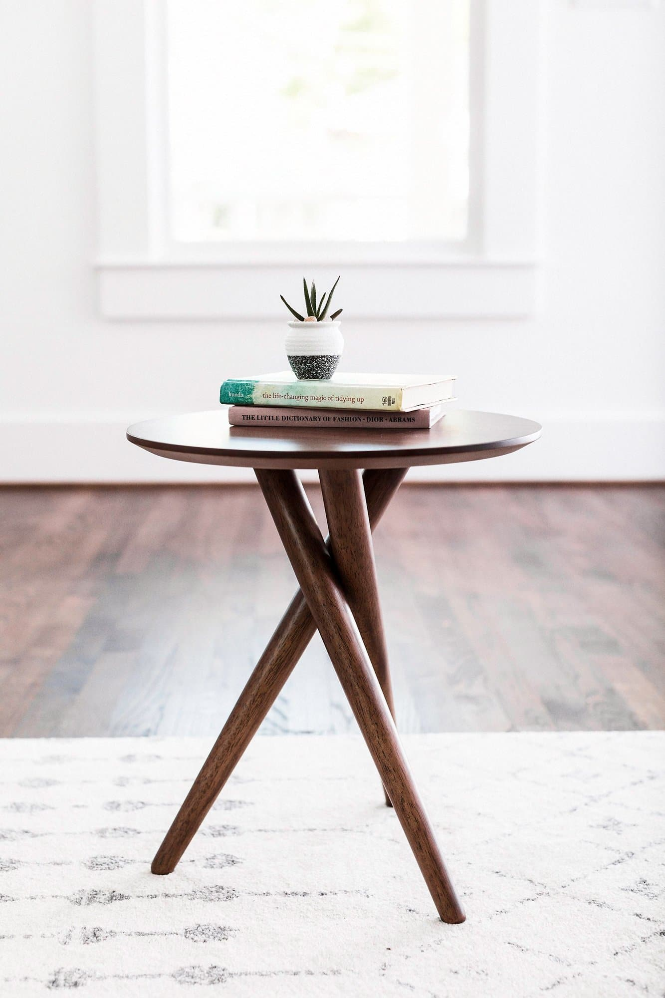 Image of: Fordham Mid Century Modern End Table Tripod Small Side Table Edloe Finch Furniture Co
