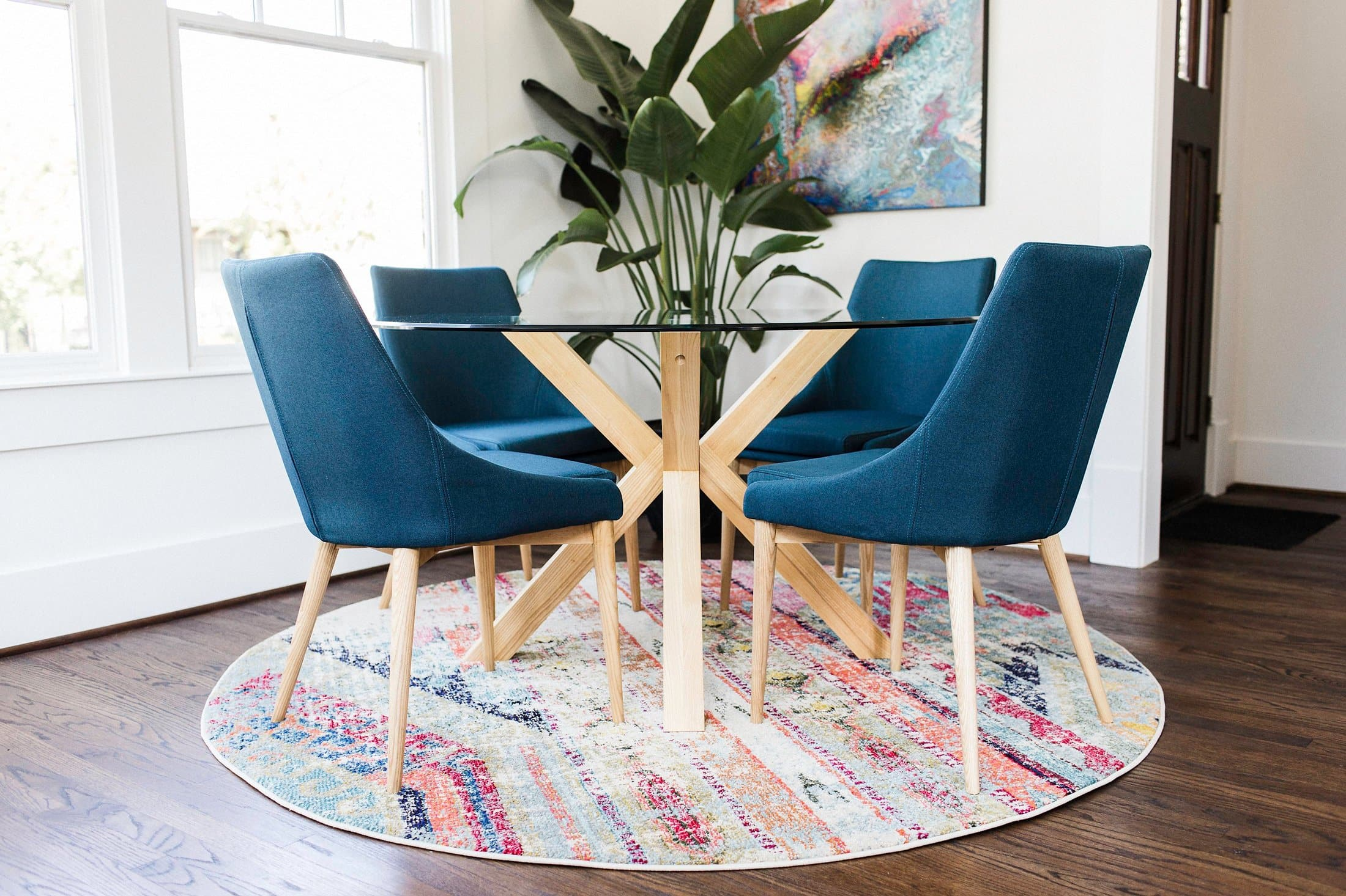 Jessica Modern Dining Chairs Set Of 2 Teal Blue Upholstered Fabric Edloe Finch Furniture Co