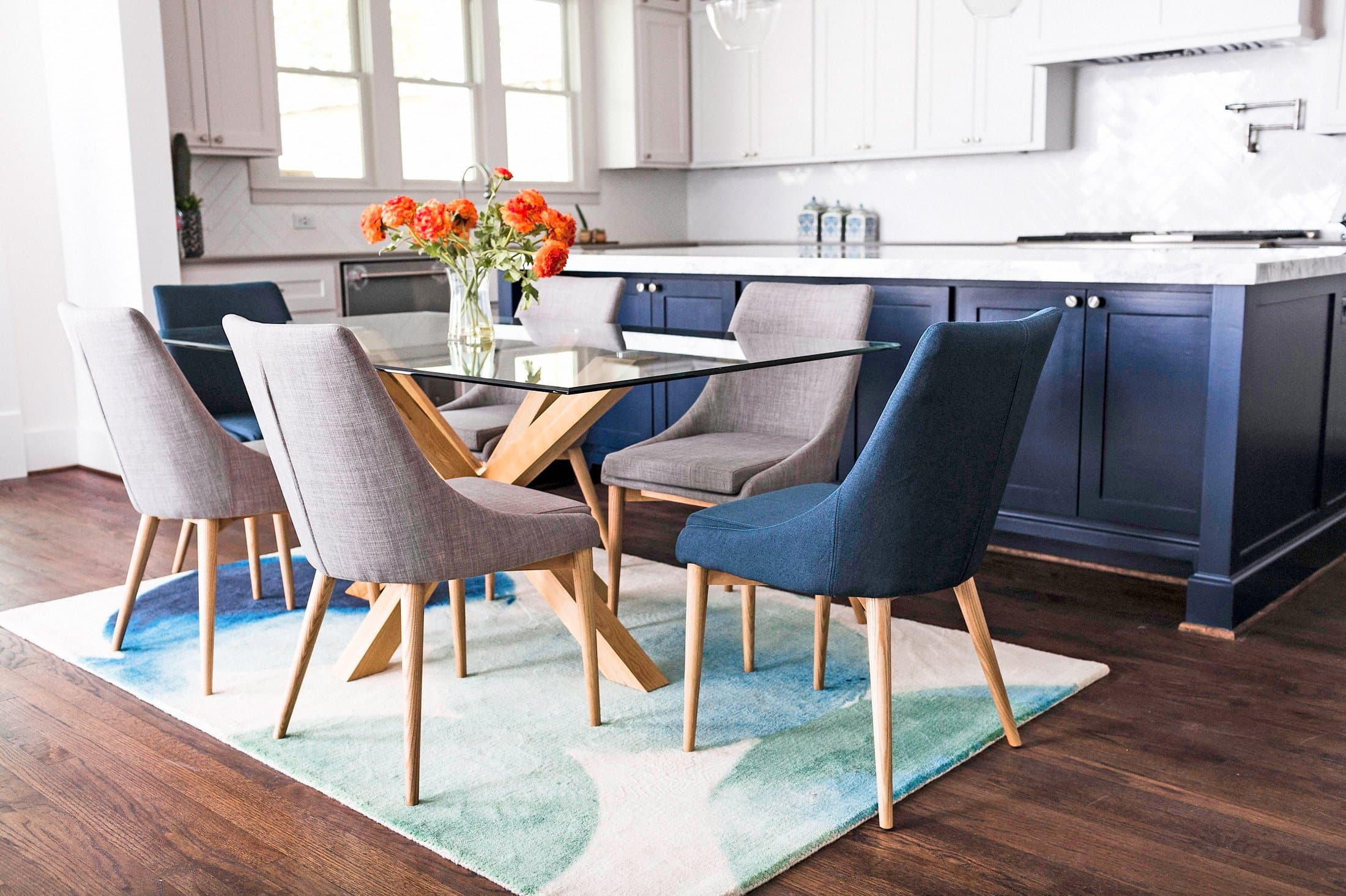 Picture of: Jessica Modern Dining Chairs Set Of 2 Teal Blue Upholstered Fabric Edloe Finch Furniture Co