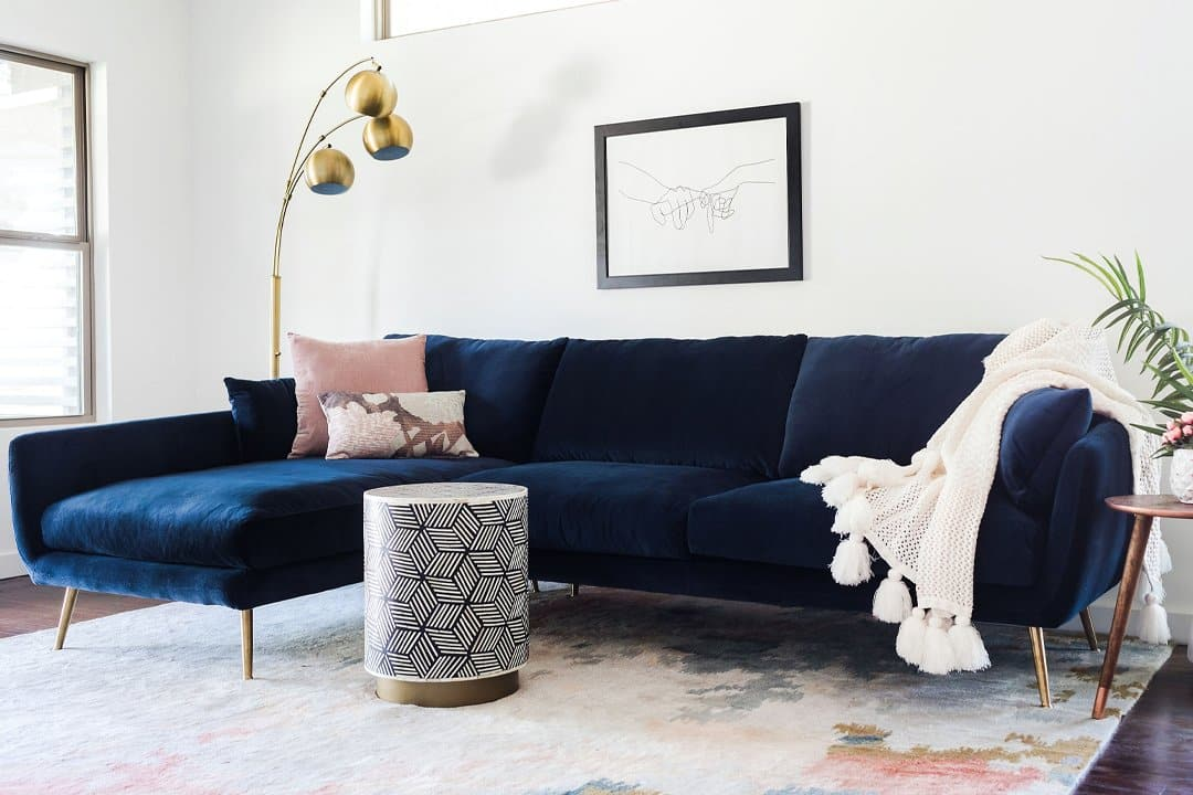 Astounding Harlow Sectional Sofa Blue Velvet Onthecornerstone Fun Painted Chair Ideas Images Onthecornerstoneorg