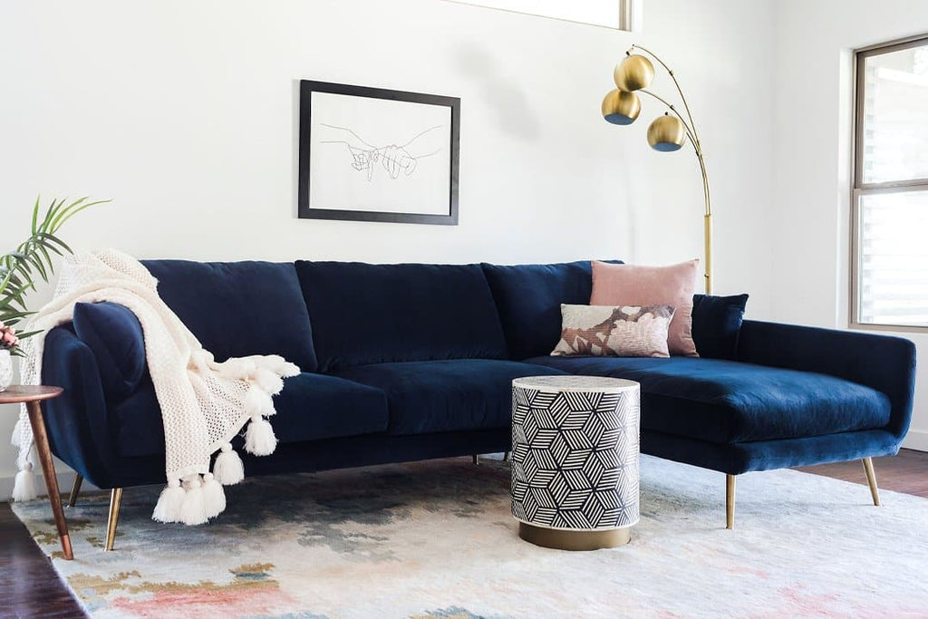 Harlow Sectional Sofa (Midnight Blue Velvet)