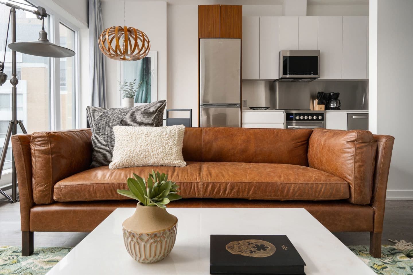 Image of: Finley Mid Century Modern Leather Sofa Midcentury Leather Couch Edloe Finch Furniture Co
