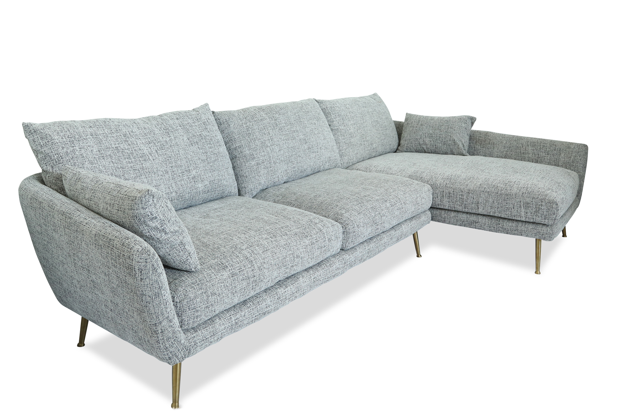 Image of: Harlow Mid Century Modern Sectional Sofa Down Feathers Gold Legs Edloe Finch Furniture Co
