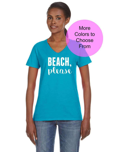 Beach Please - Women's VNeck Neck TShirt - White Ink