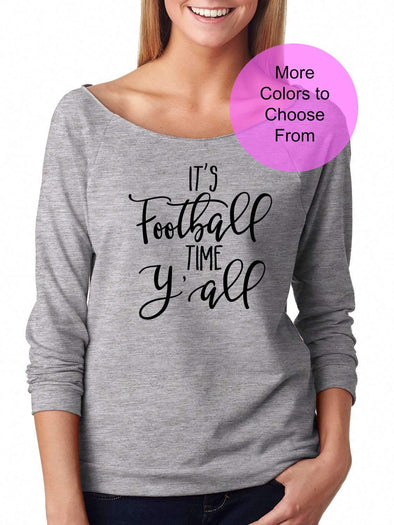 It's Football Time Y'All - Slouchy Style 3/4 Sleeve Sweatshirt - Black Ink