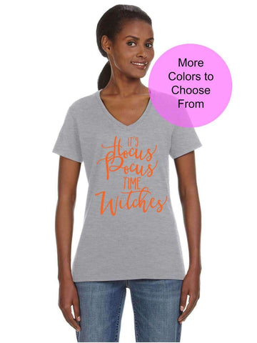 It's Hocus Pocus Time Witches. Cute VNeck Halloween TShirt Tee Shirts