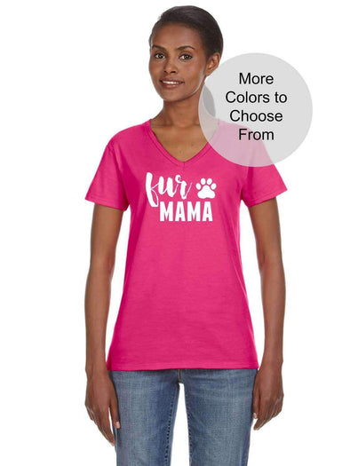 Fur Mama - Women's Crew Neck TShirt - White Ink