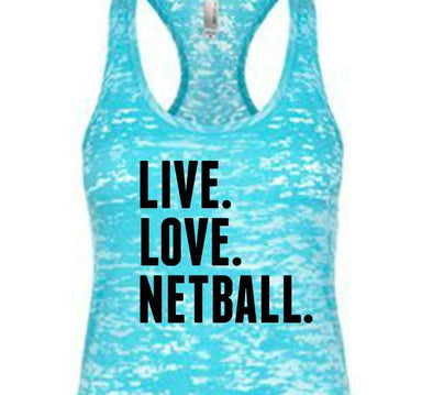 Live. Love. Netball. - Burnout Tank Top - Black Ink