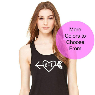 Custom Initials Arrow Heart Valentines Day - Flowy Style Tank Top - White Ink