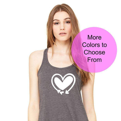 Double Heart Arrow Valentines Day - Flowy Style Tank Top - White Ink