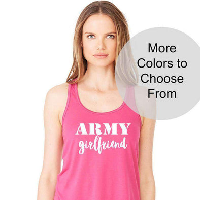 Army Girlfriend - Flowy Style Tank Top - White Ink