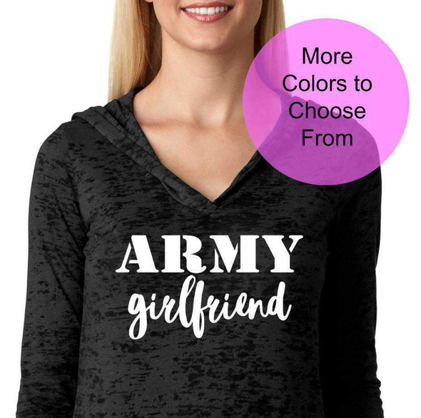 Army Girlfriend - Women's Burnout Hoodie - White Ink