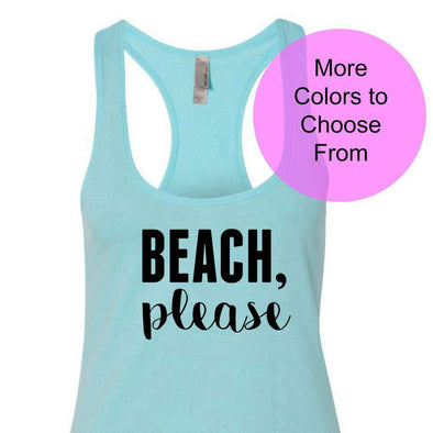 Beach Please - Terry Tank - Black Ink