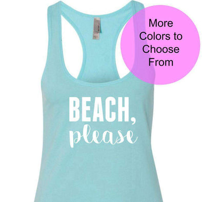 Beach Please - Terry Tank Top - White Ink