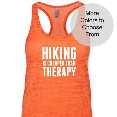 Hiking Is Cheaper Than Therapy - Burnout Tank Top - White Ink