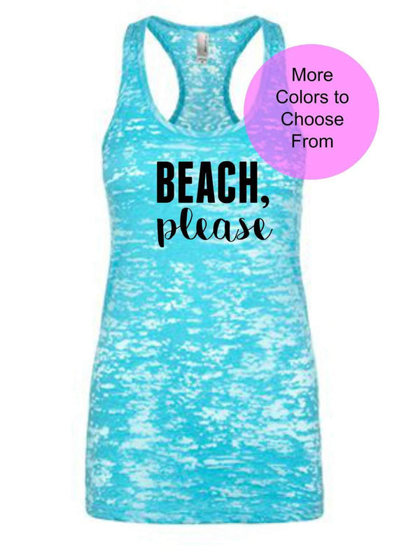 Beach Please - Burnout Tank Top - Black Ink
