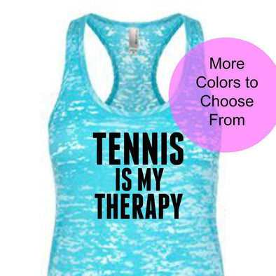 Tennis Is My Therapy - Burnout Tank - Black Ink
