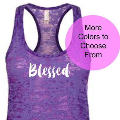 Blessed - Burnout Tank - White Ink