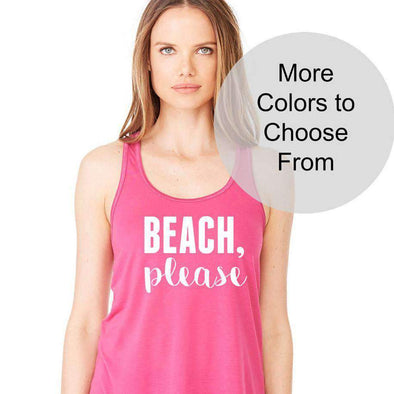 Beach Please - Flowy Style Tank Top - White Ink