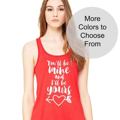 You'll Be Mine and I'll Be Yours Heart Arrow - Flowy Style Tank - White Ink