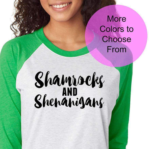 Shamrocks and Shenanigans - Raglan Baseball 3/4 Sleeve Shirt