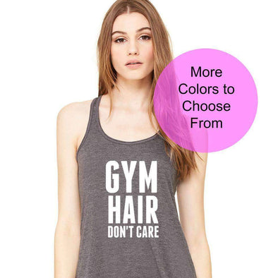 Gym Hair Don't Care - Flowy Style Tank Top - White Ink