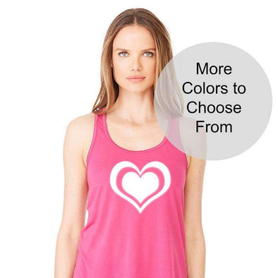 Double Heart Shirt - Flowy Style Tank Top - White Ink