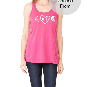 Custom Initials Valentines Day Tank Top Heart Arrow Love Gift Wife Girlfriend Fiance Mothers Day Anniversary Birthday Engagement Gift Bride