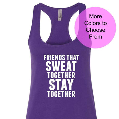 Friends That Sweat Together Stay Together - Terry Tank - White Ink