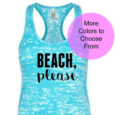 Beach Please - Burnout Tank - Black Ink