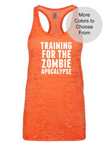 Training For The Zombie Apocalypse - Burnout Tank Top - White Ink