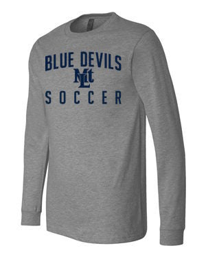 Grey Lebo Soccer Long Sleeve Tee Blue Devils