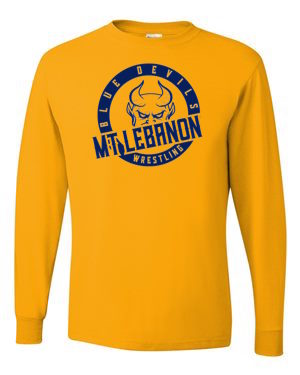 Gold Lebo Blue Devil Wrestling Long Sleeve Tee