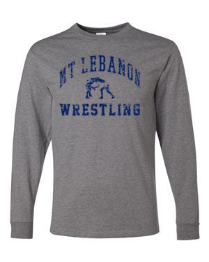 Grey Lebo Wrestling Long Sleeve Tee Navy