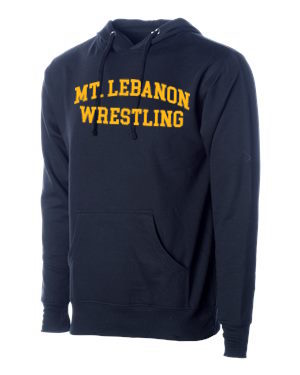 Navy Lebo Blue Devils Old School Wrestling Hoodie (Gold print)