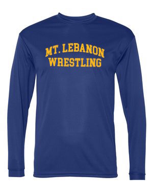 Navy Lebo Old School Blue Devil Wrestling Long Sleeve Performance (Gold print)