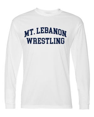 White Lebo Old School Blue Devil Wrestling Long Sleeve Performance (Navy print)