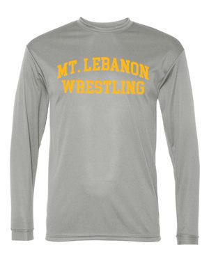 Grey Lebo Old School Blue Devil Wrestling Long Sleeve Performance  (Gold print)