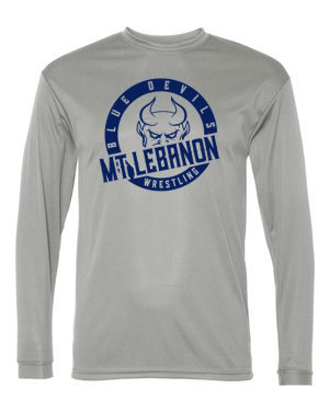 Grey Lebo Blue Devil Wrestling Long Sleeve DryFit Navy