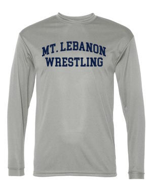 Grey Lebo Old School Blue Devil Wrestling Long Sleeve Performance (Navy print)