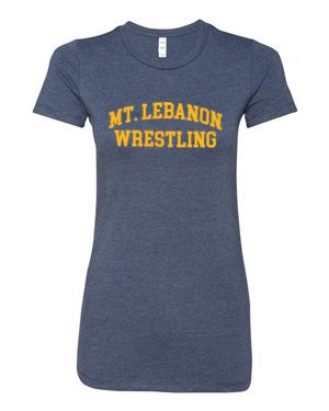 Women's Navy Lebo Old School Wrestling Premium Tee (Gold Print)