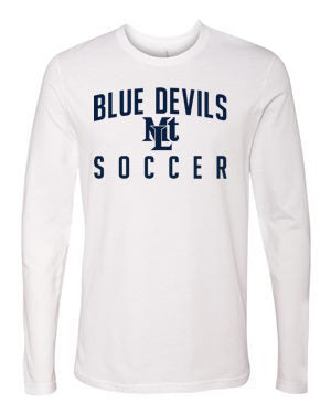 White Lebo Soccer Long Sleeve Tee Blue Devils