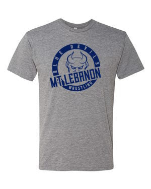 Grey Lebo Blue Devil Wrestling Premium Tee Navy