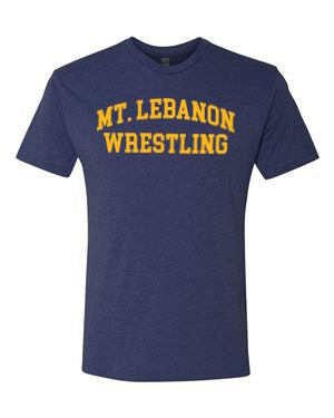 Navy Lebo Old School Wrestling Premium Tee (Gold Print)
