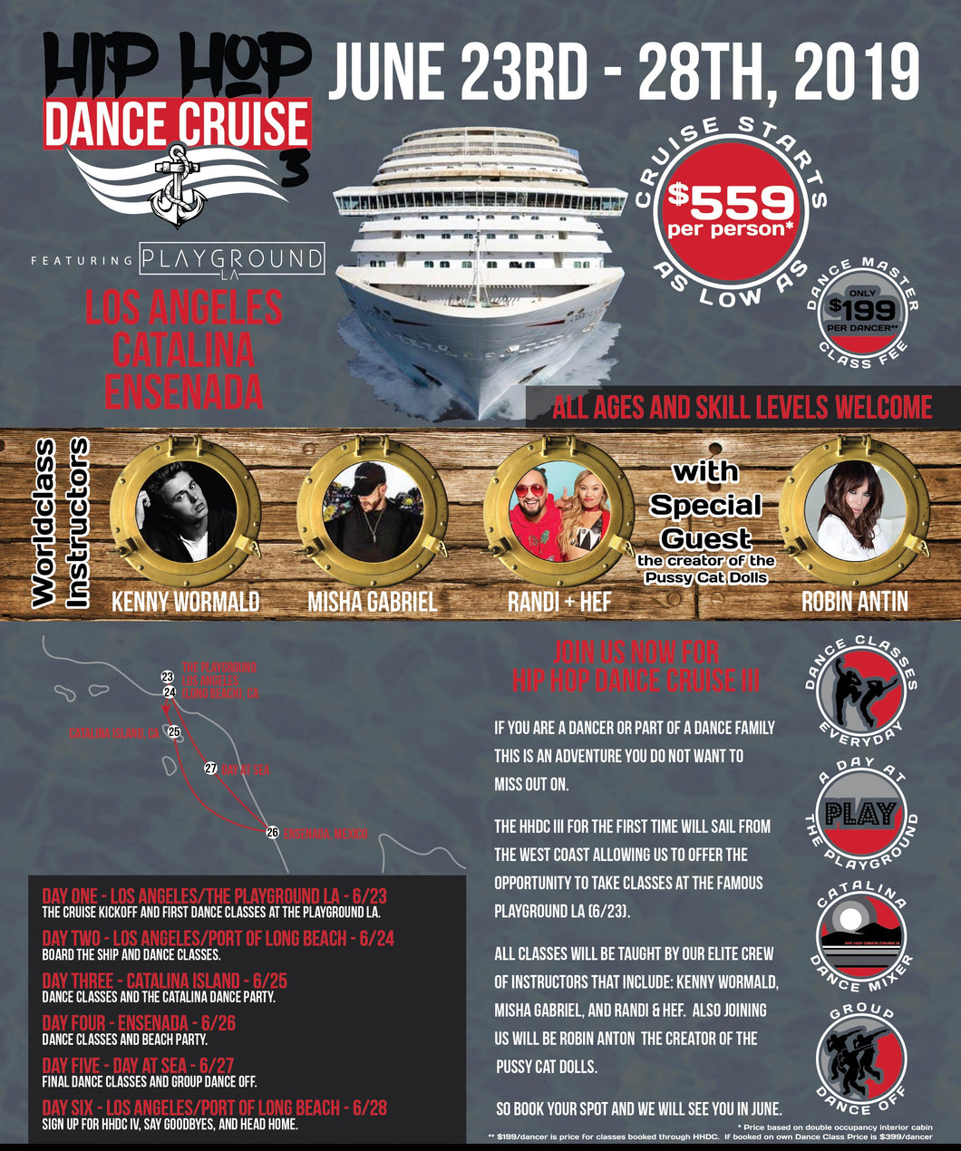 Hip hop dance cruise class fee (Discounted rate won't last long)
