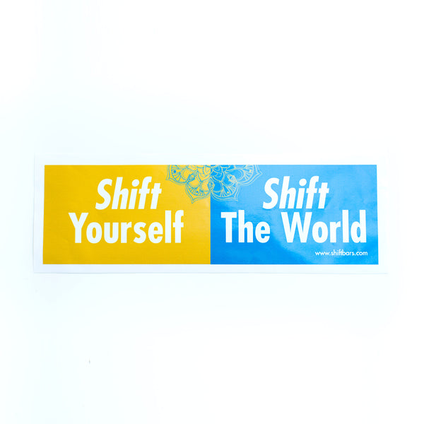 Shift Bars bumper sticker for the most delicious low-sugar, vegan and paleo-friendly healthy snack