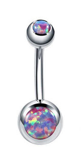Double Opal Set 316L Surgical Steel Navel Belly Button Ring