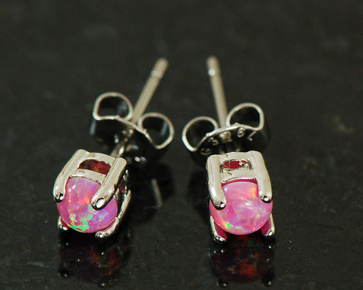Pair of 4mm 5mm Pink Opal Stone Post Earring Studs