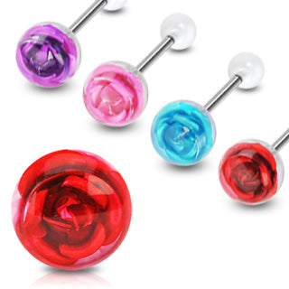 4 Pc 10mm Metal Rose Embedded Barbell Tongue Rings