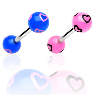 Printed Multi Heart Balls Surgical Steel Barbell Tongue Ring